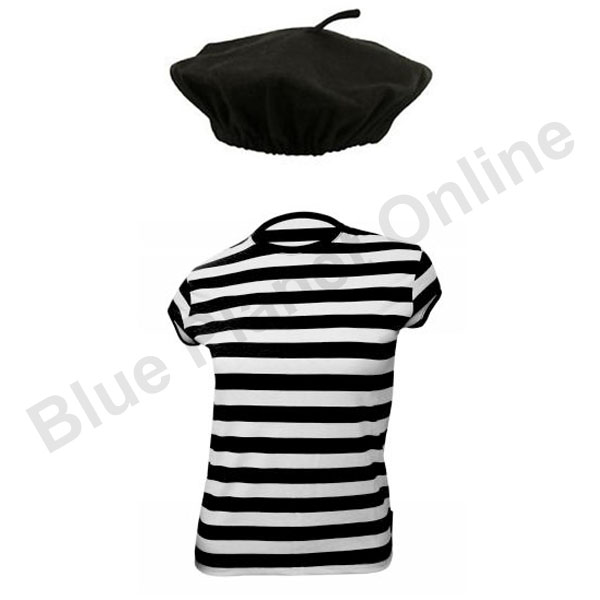 Ladies french beret hat striped t shirt fancy dress for Striped french sailor shirt