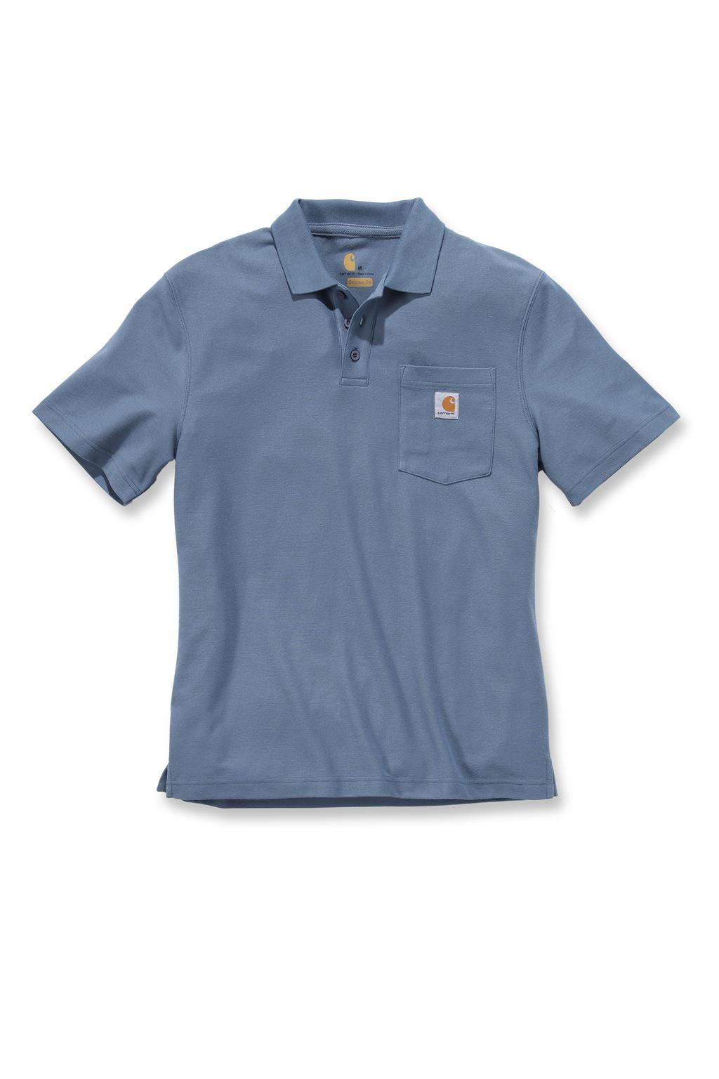 Carhartt k570 work pocket short sleeve polo shirt steel for Short sleeve polo shirt with pocket