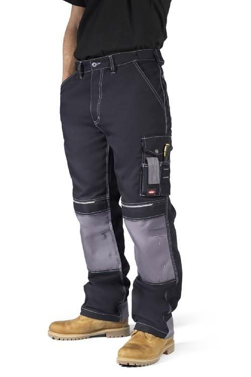 Lee Cooper 208 Cargo New Work Trousers Tough Fit Knee Pad Pockets Black Grey
