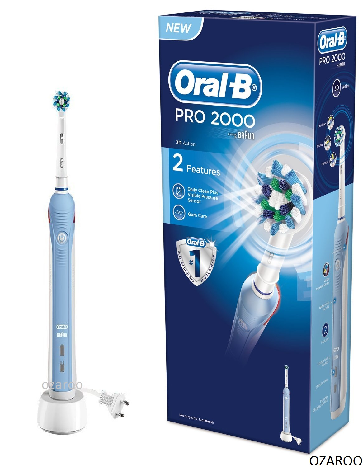 Braun Oral-B PRO 2000 CrossAction 3D 2-Mode Rechargeable Electric Toothbrush
