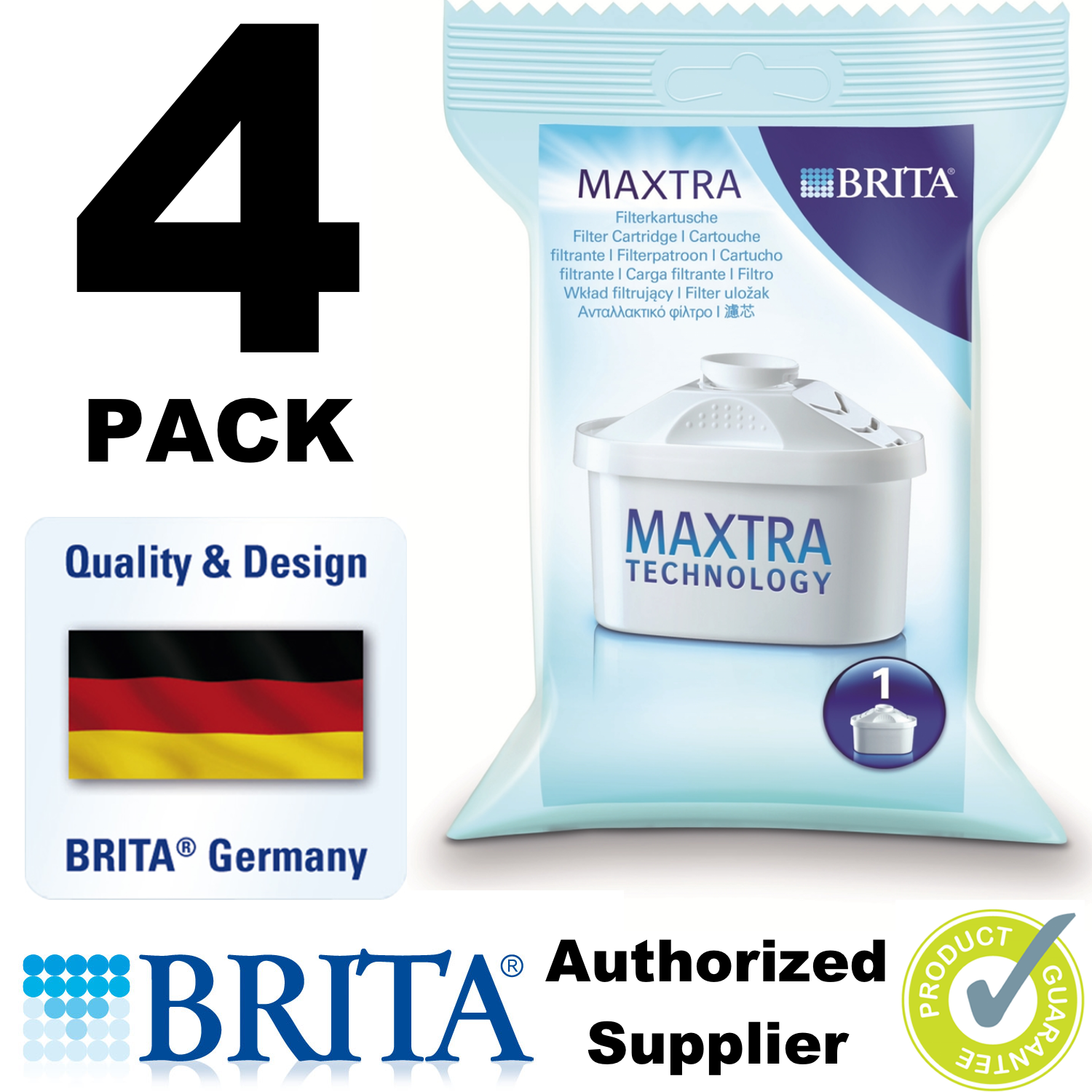 BRITA MAXTRA Water Filter Jug Refills Genuine Replacement Cartridges - PACK OF 4