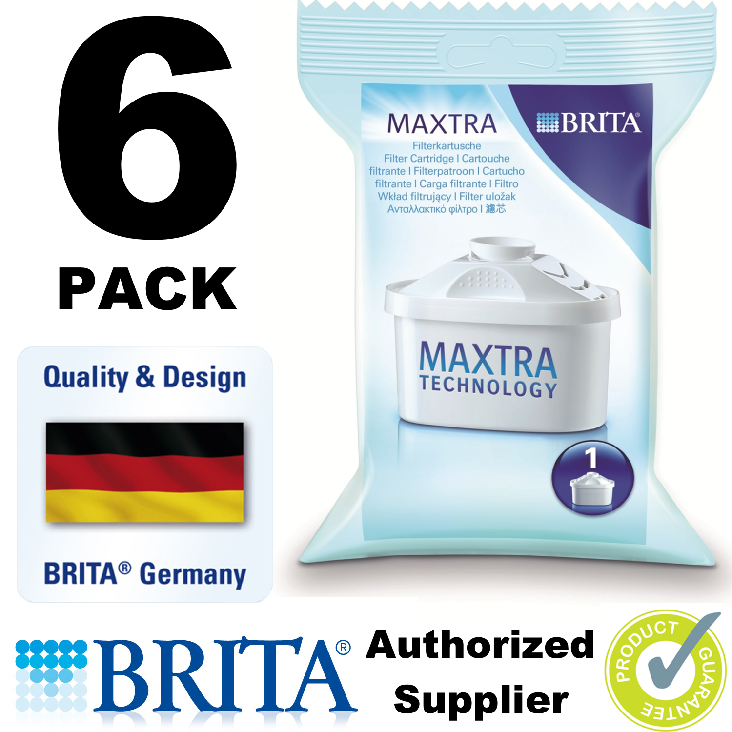 BRITA MAXTRA Water Filter Jug Refills Genuine Replacement Cartridges - Pack of 6