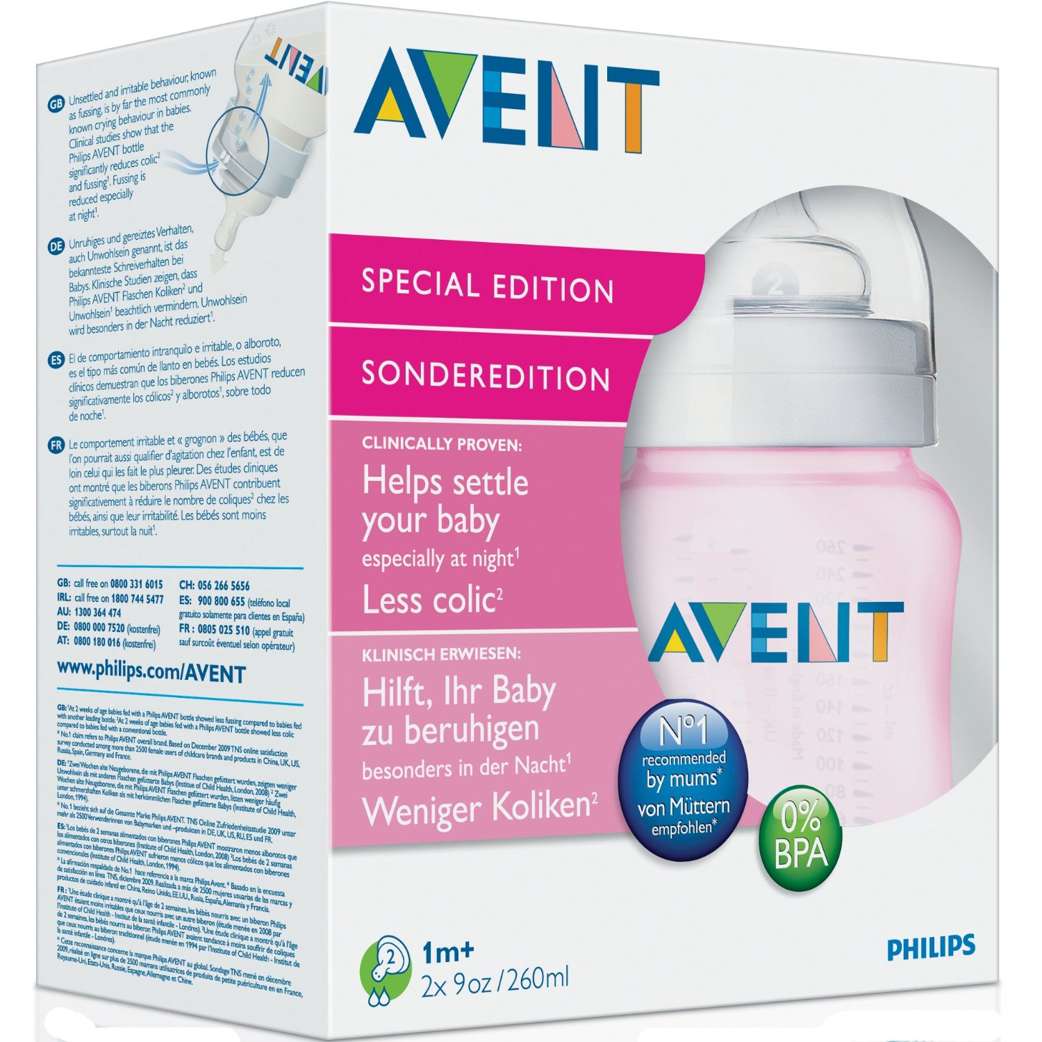 Philips AVENT Limited Edition Pink Girls Baby Bottles 2 Pack 260ml New SCF684/27