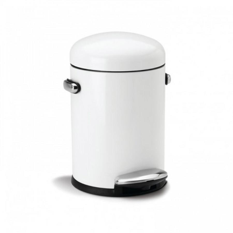 simplehuman 3l litre white steel small mini retro pedal. Black Bedroom Furniture Sets. Home Design Ideas