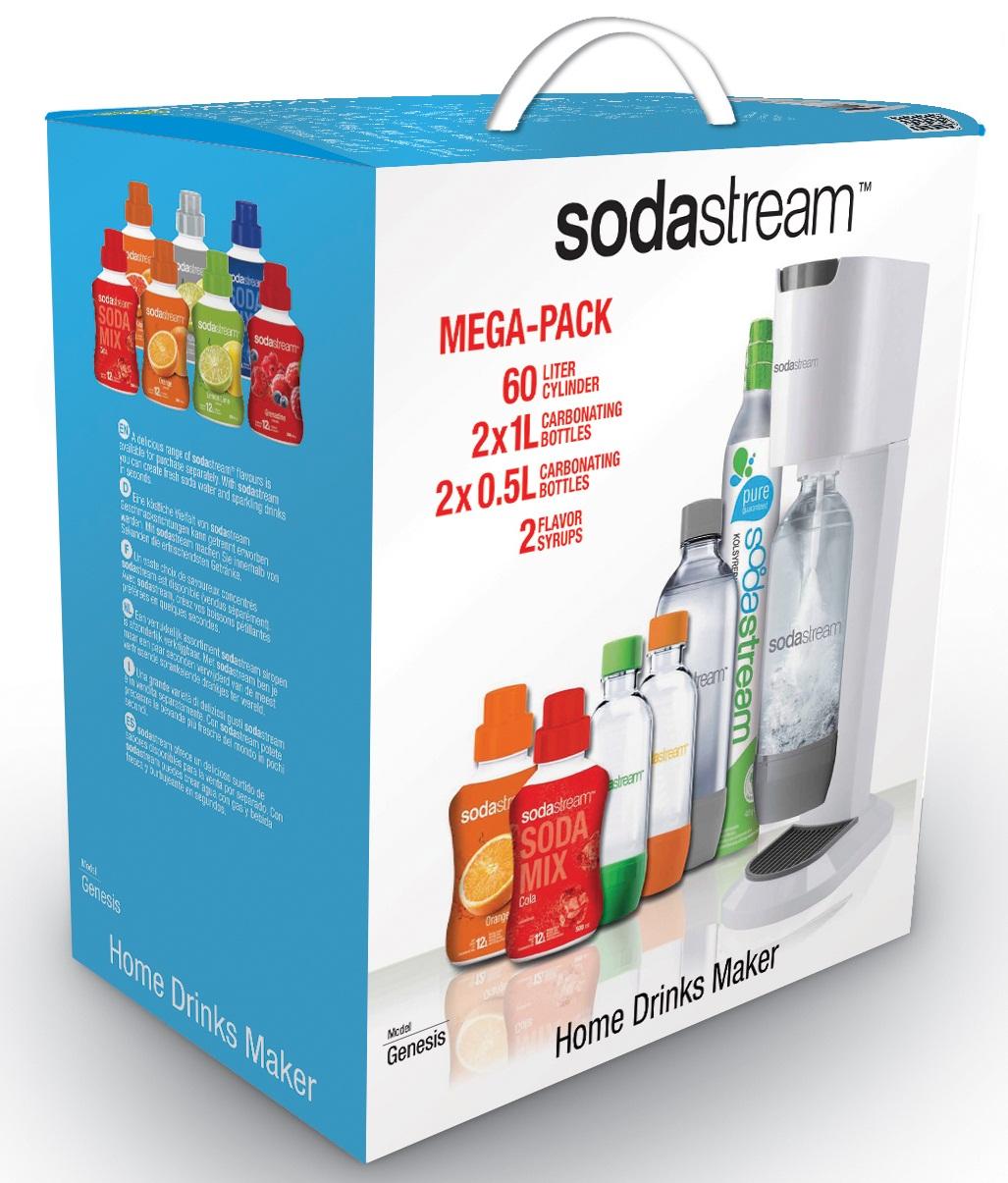 SodaStream Genesis White Mega-Pack Fizzy Drinks Maker Soda Machine Coke & Orange
