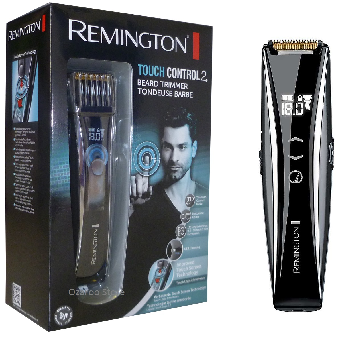remington mb4555 touch screen control mens beard and stubble trimmer shaver new ebay. Black Bedroom Furniture Sets. Home Design Ideas