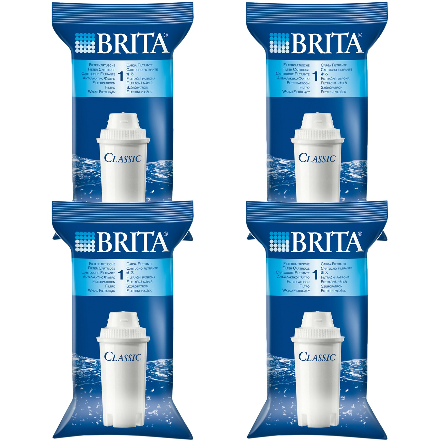 Pack of 4 Brita Classic Replacement Water Filter Jug Cartridges Original (Four)