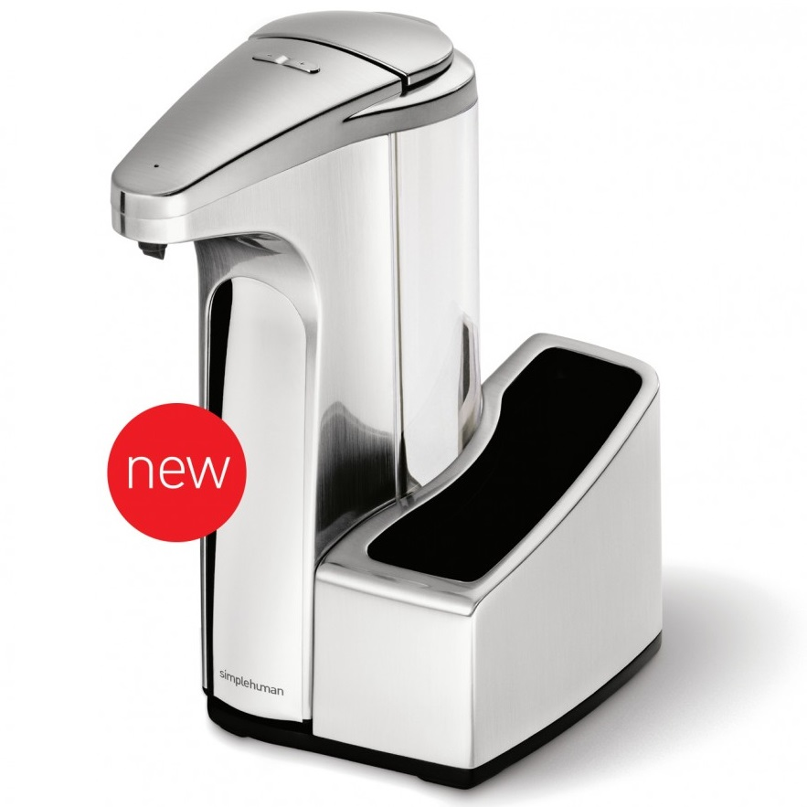 simplehuman Brushed Nickel Sensor Pump Soap Dispenser 384ml with Caddy ...