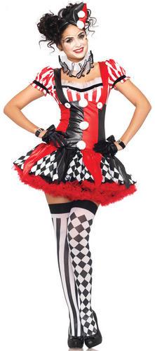 Harlequin Jester Ladies Fancy Dress Clown Costume Circus Halloween Fancy Dress