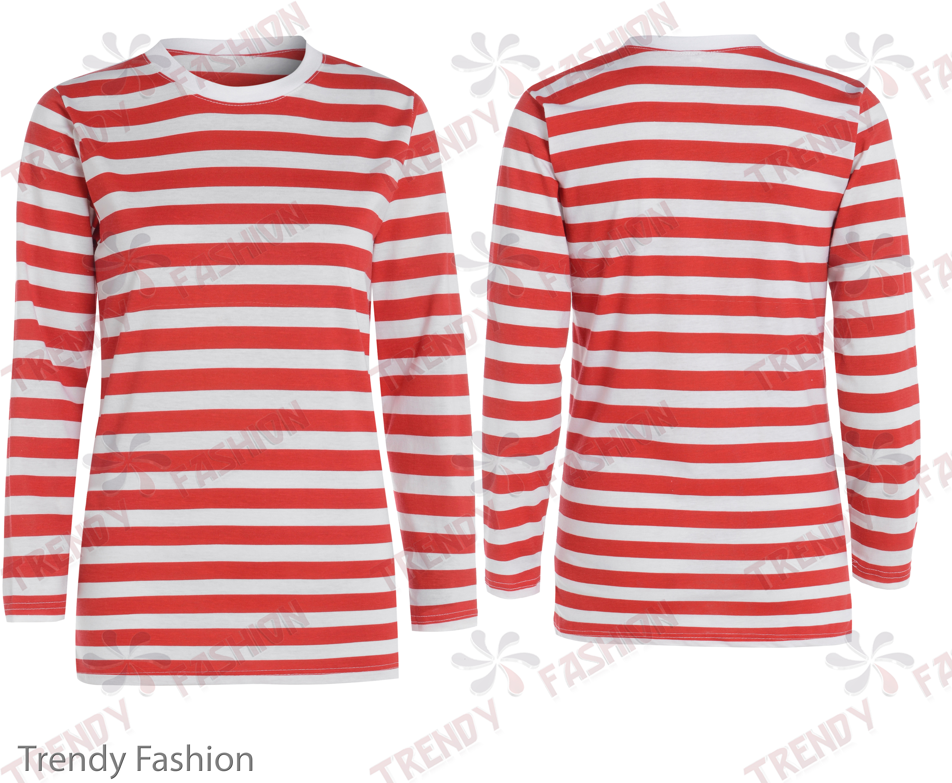 Red And White Striped Long Sleeve Shirt Womens