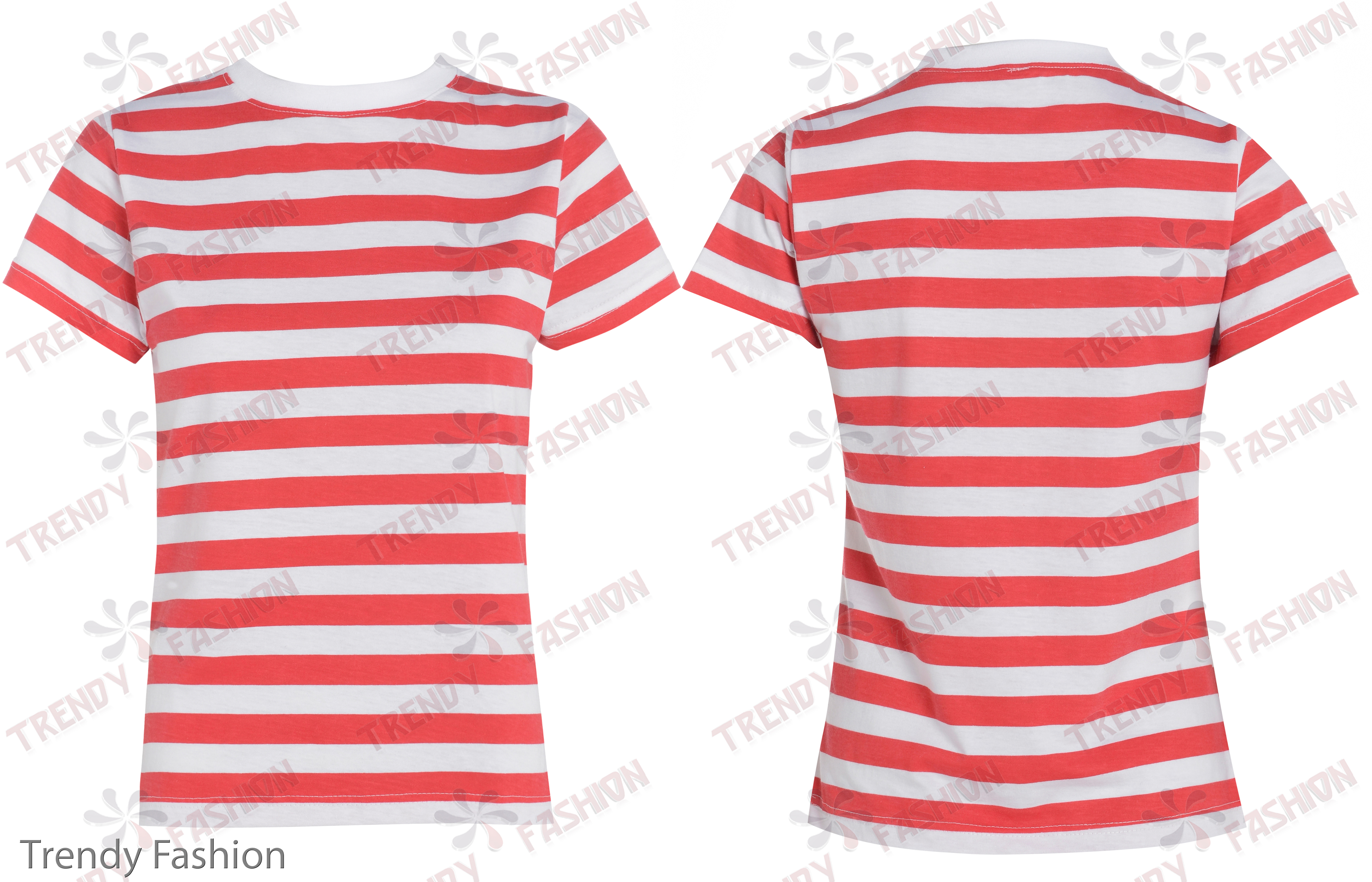 Ladies wheres wally red and white stripe t shirt vest top for Best striped t shirt