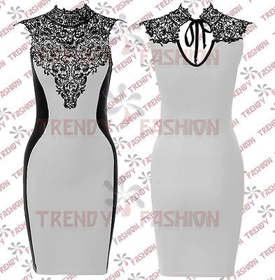 LADIES-SLEEVELESS-BLACK-LACE-CROCHET-HIGH-NECK-BODYCON-PENCIL-DRESS-TOP