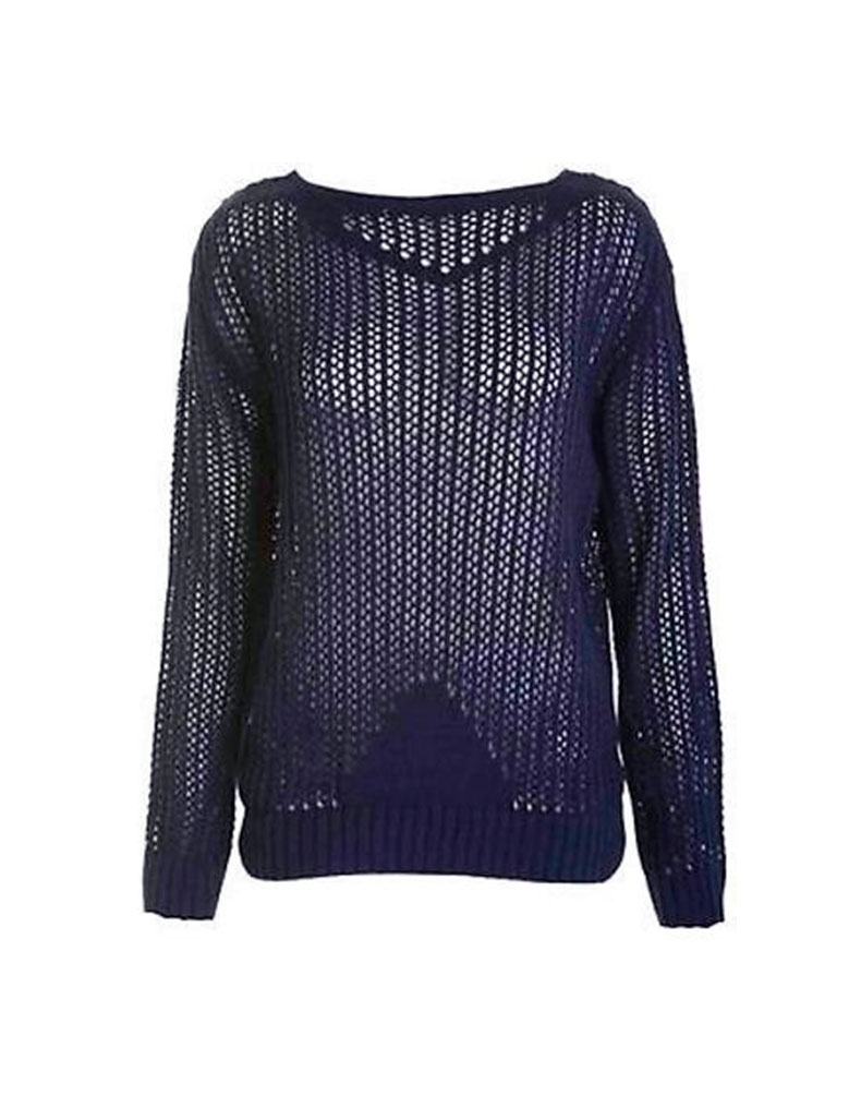 Womens Ladies Crochet Cable Holey Knitted Jumper Long Sleeve Knitwear Cardiga...