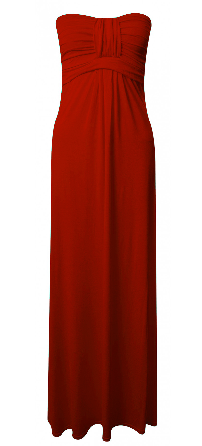Women-Strapless-Long-Maxi-Dress-Ladies-Knot-Front-Boobtube-Jersey-Stretch-UK8-14