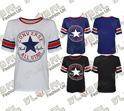 NEW-WOMENS-LADIES-DESIGN-CONVERSE-ALL-STAR-PRINTED-GIRLS-T-SHIRT-TOPS-UK-8-14