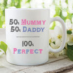 50 Mummy 50 Daddy 100 Perfect Mugs Fathers Day Mothers Day Gifts Cups WSDMUG565