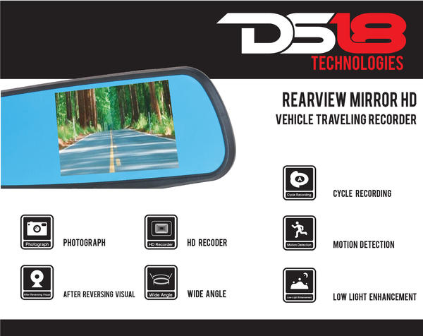 "DS18 EAGLEBT Rearview Mirror 4.3"" LCD Display 1080P Dash Cam Recorder and Camera Thumbnail 4"