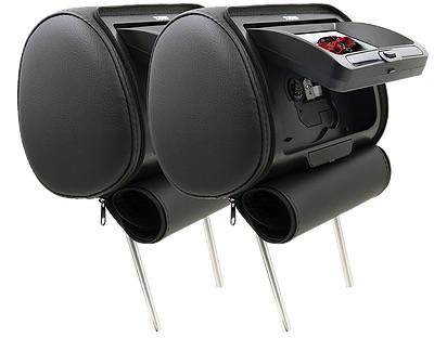 "DS18 HPKG92DVD Car Audio Twin 9"" AV DVD Black Grey Beige Headrest LCD Screen Thumbnail 1"
