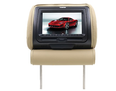 "DS18 HPKG-7DVD In Car 7"" AV Monitor 12V Headrest 3 Colours Black Tan Grey Single Thumbnail 7"