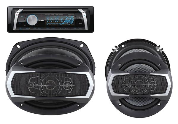"DS18 PKG-36D Marine Stereo CD DVD Radio MP3 6"" 6x9"" Speakers 460 Watts Kit Thumbnail 1"