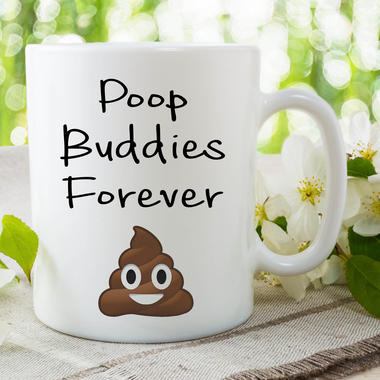 Funny Novelty Poo Mugs Poop Buddies Forever Humour Joke Gifts Cups Fun WSDMUG657 Thumbnail 2