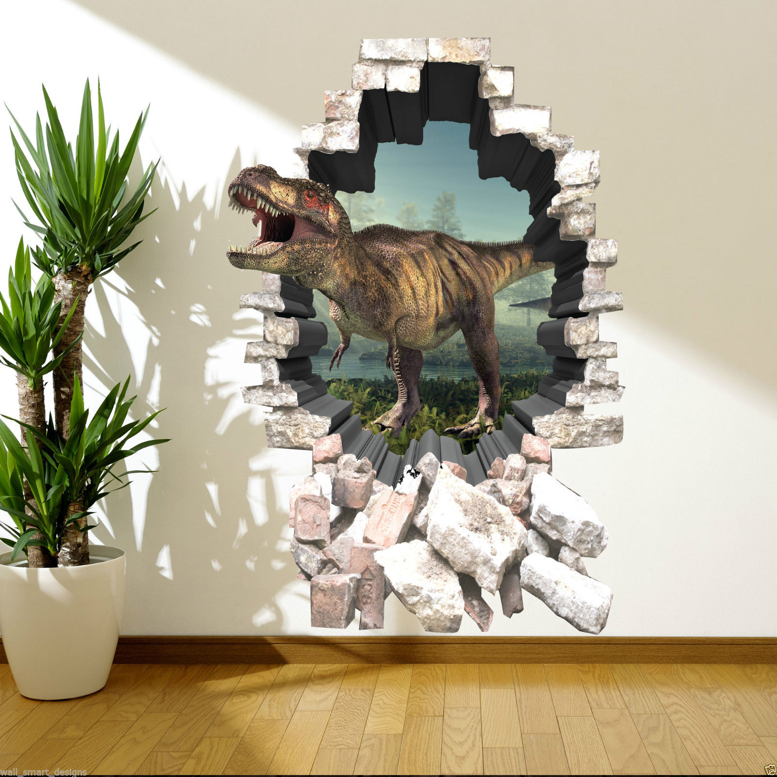 3d dinosaur full colour t rex wall art sticker decal mural for Dinosaur wall mural uk