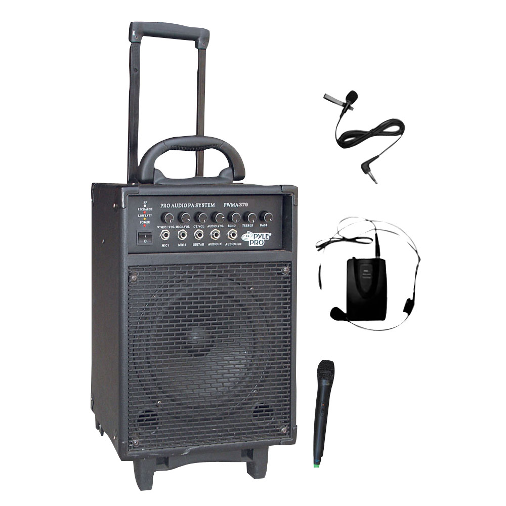 pyle 300w active amplified wireless wired microphone portable pa system speaker ebay. Black Bedroom Furniture Sets. Home Design Ideas