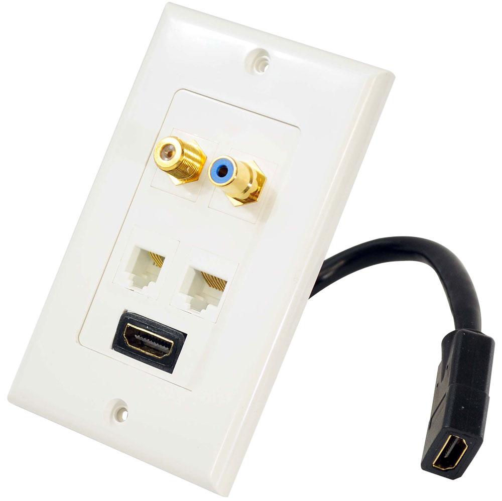 Pyle Hi Fi Cinema AVR RJ11 RJ45 Coaxial RCA HDMI Wall Plate Socket Block White