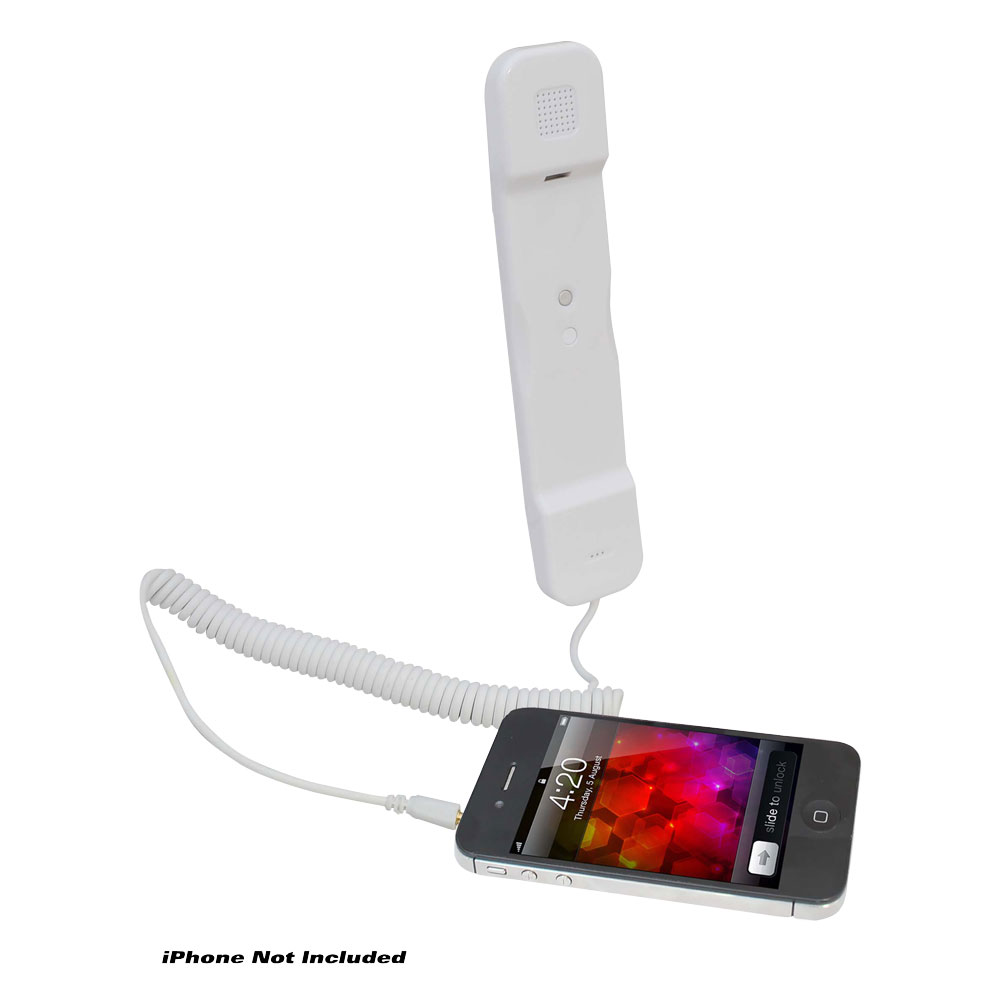 Pyle USA Corded Soft Touch Handset For iPhone iPad iPod And Android Phones White