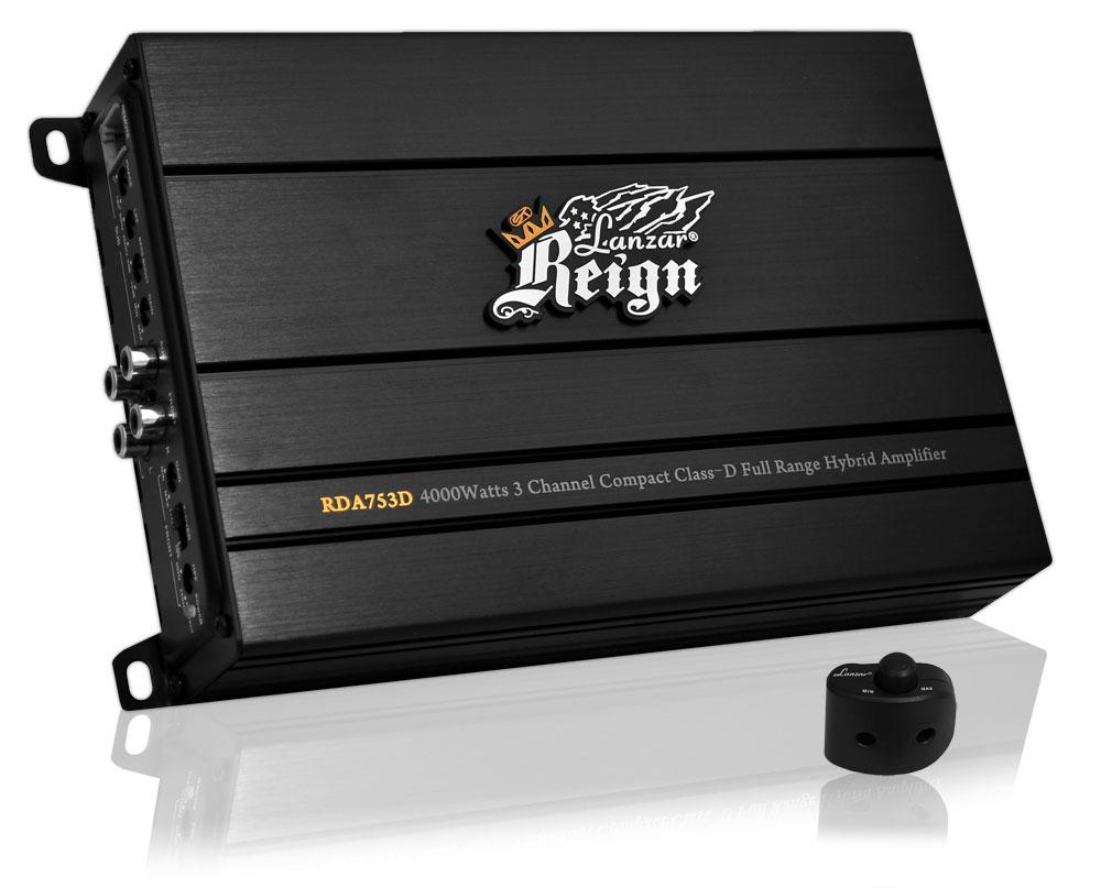 Lanzar RDA753D Reign 4000w 3-Channel Class-D Full Range Car Speaker Amplifier