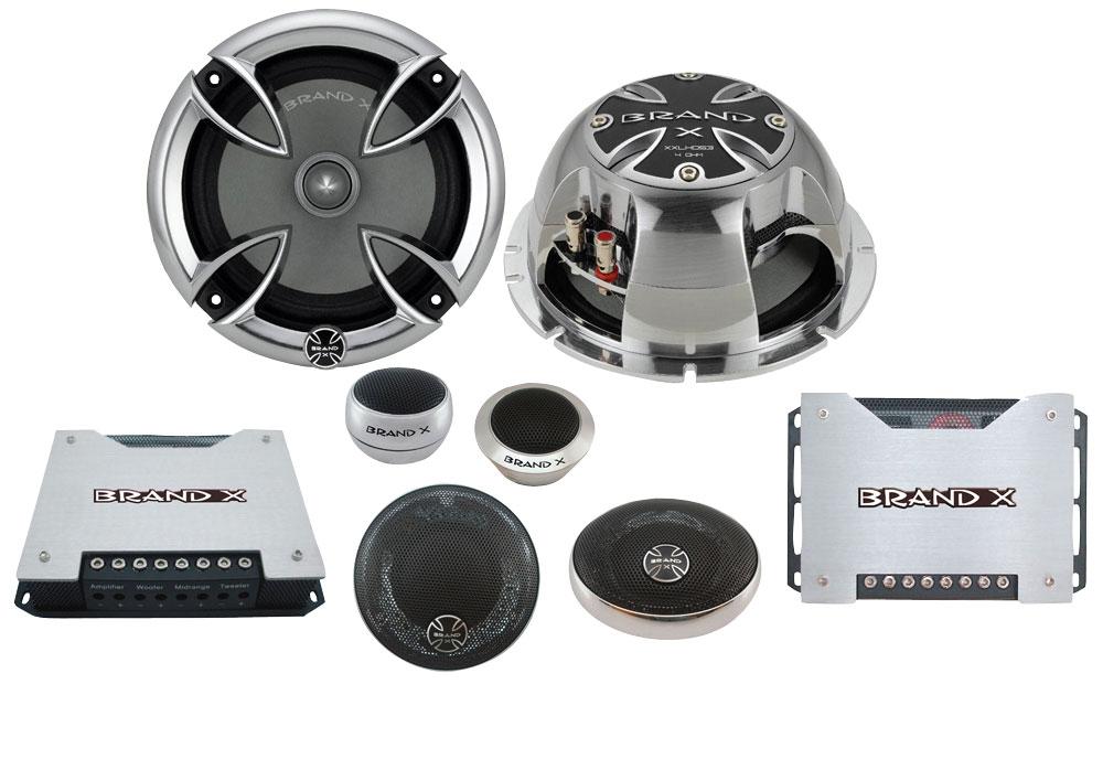 Brand-X XXLHDS3 6.5'' 3-Way Hi-Fi Car Component Door Shelf Front Speakers
