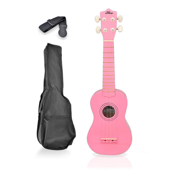 Pyle PGAKT10PK Soprano Ukulele Mini Guitar Starter Package All Ages - Pink Thumbnail 1