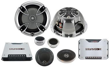 Brand-X XXLHDS3 6.5'' 3-Way Hi-Fi Car Component Door Shelf Front Speakers Thumbnail 1