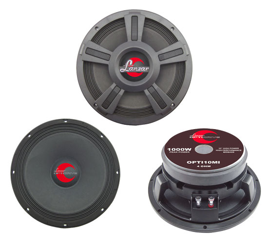 "Lanzar Opti Mid Bass Driver 10"" 4 Ohm 1000w In Car Audio Subwoofer Sub Woofer"