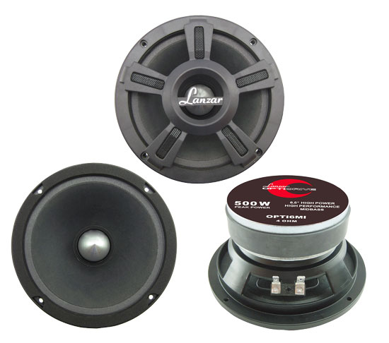 """Lanzar Opti Mid Bass Driver 6.5"""" 4 Ohm 500w In Car Audio Subwoofer Sub Woofer"""