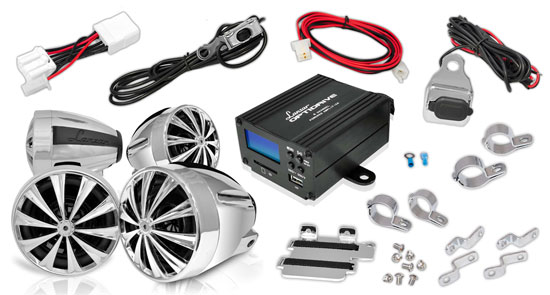 Lanzar OPTIMC92 1400W Motorcycle/ATV/Snowmobile 4 Channel Amplifier Speakers