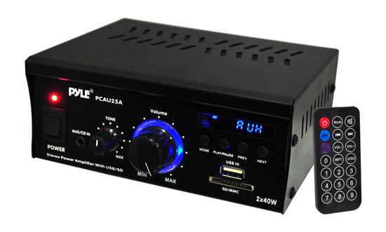 Pyle PCAU25A 2 x 40 Watt Stereo Power Amplifier USB/SD AUX Player & Remote