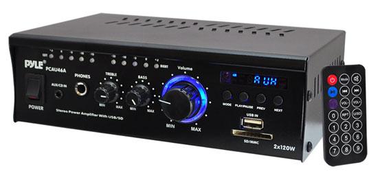 Pyle PCAU46A 2 x 120 Watt Stereo Mini Power Amplifier USB/SD AUX Player & Remote