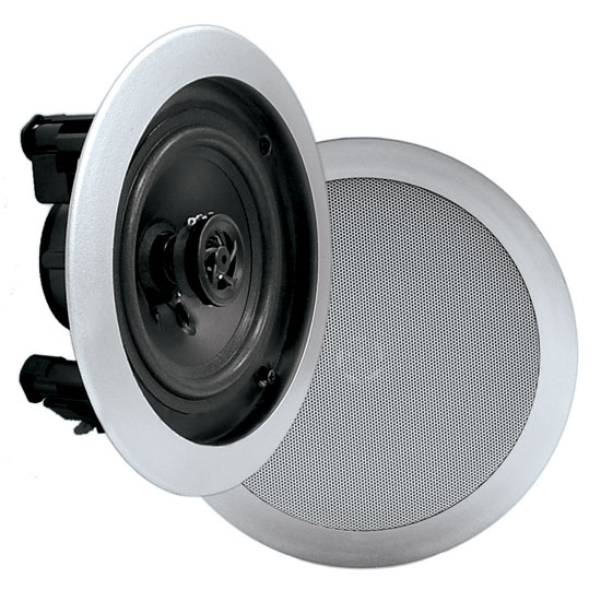 Pyle PDIC51RDSL In-Wall / In-Ceiling Dual 5.25-inch Speaker System, 2-Way, Flush Mount, Silver (Pair)