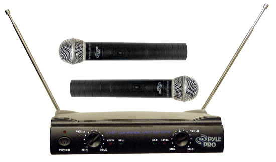 Pyle Pro Dual Twin VHF DJ Party Karaoke Wireless Handheld Microphone System
