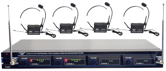 PYLE-PRO PDWM4400 - 4 Mic VHF Wireless Lavalie/ Headset System