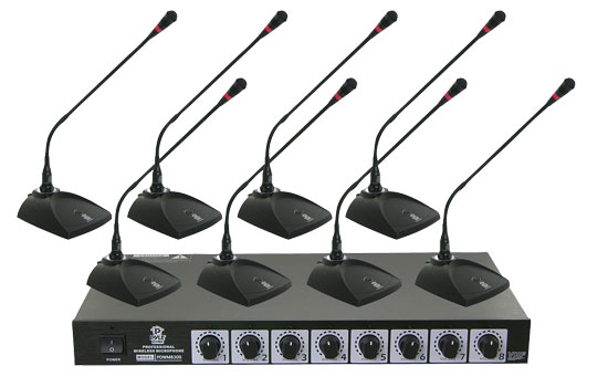 Pyle Pro Eight VHF DJ Wireless Conference Desktop Desk Mics Microphone System
