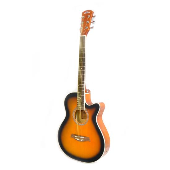 Pyle 6 String Full Scale Sunburst Classic Powered Guitar With Accessory Kit
