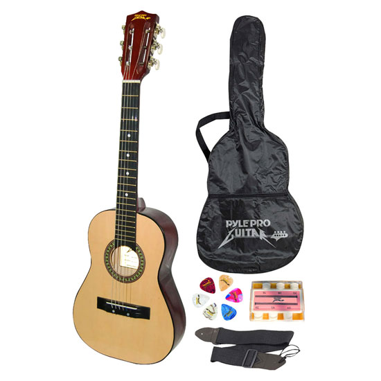 """Pyle PGAKT30 30"""" Beginner Acoustic Guitar w/ Carrying Case & Accessories"""