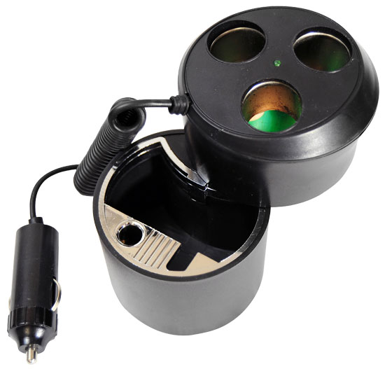 Pyle PL12AT3C Plug In Car 1 TO 3 Cigarette Lighter Multiplier Ashtray Combo