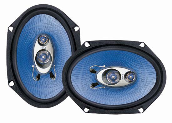 "Pair Of Pyle Blue 6x8"" 720w Car Audio Door Shelf Four Way Coaxial Speakers"