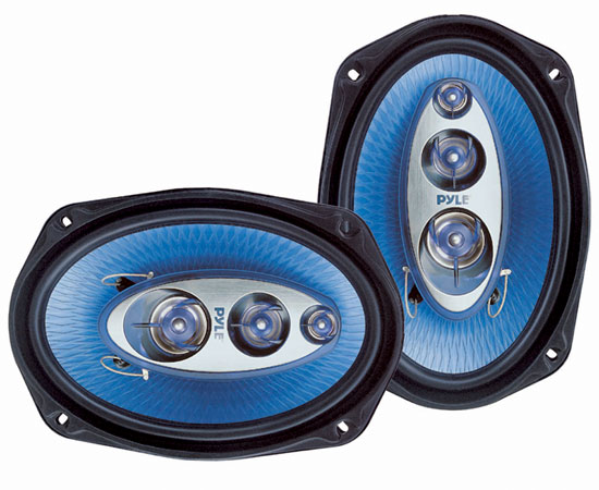 "Pair Of Pyle Blue 6x9"" 800w Car Audio Door Shelf Four Way Coaxial Speakers"