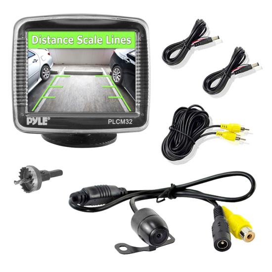 "Pyle PLCM32 3.5"" Universal Mount Rear View and Backup Distance Line Camera"