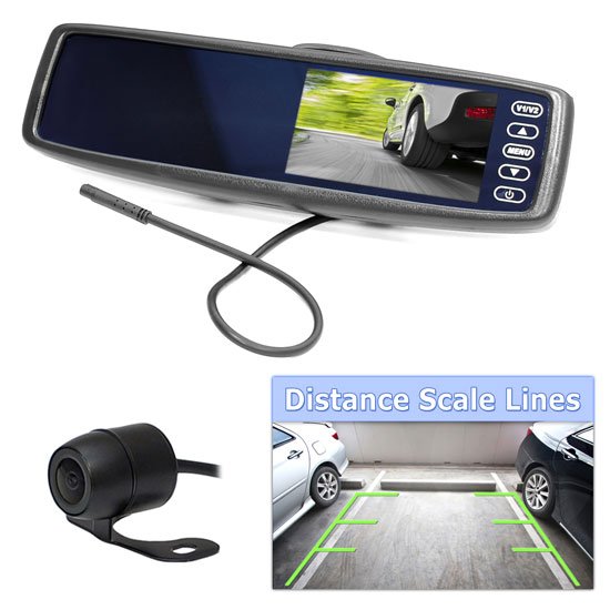 Pyle PLCM4300WIR Touchscreen Rear View Mirror Monitor Reverse Camera System