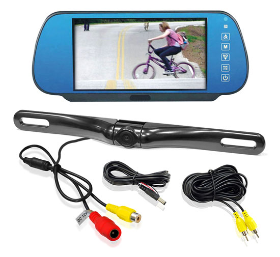 "Pyle PLCM7800 7"" Rear View TFT Mirror Monitor With Numberplate Reverse Camera"
